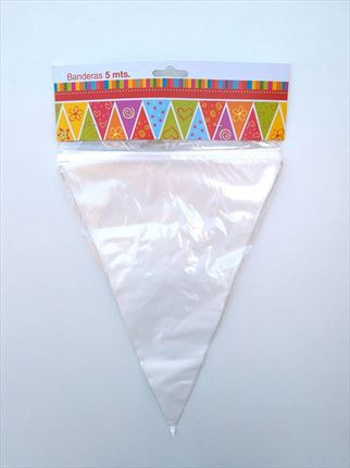 BANDERINES TRIANGULAR PLASTICO BLANCO