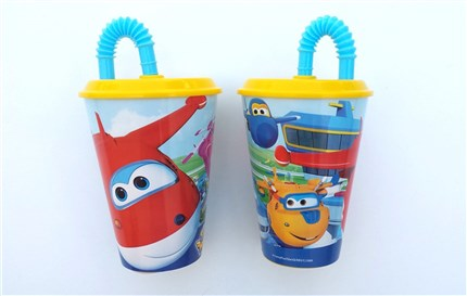 VASOS CON TAPA Y PAJITA SUPER WINGS